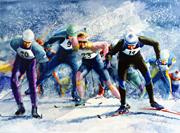 X-country Skiing Art Print featuring the painting Cross-country Challenge by Hanne Lore Koehler