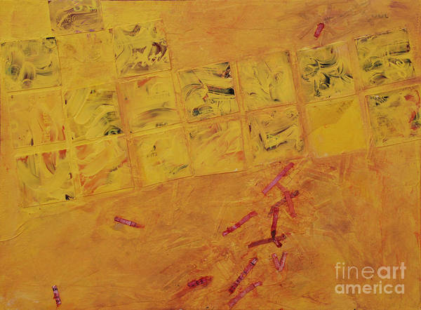 Abstract Art Print featuring the painting Cruciform In Yellow Recycled by Heidi E Nelson