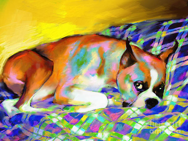 Boxer Painting Art Print featuring the painting Cute Boxer Dog Portrait Painting by Svetlana Novikova
