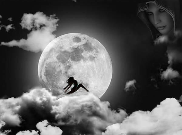 Moon Art Print featuring the digital art Dancing In The Moonlight by Alex Hardie