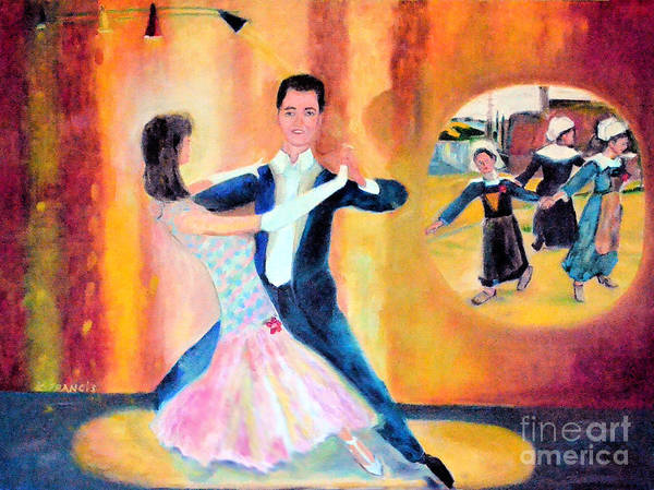 Dance Art Print featuring the painting Dancing Through Time by Karen Francis