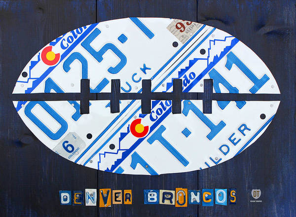 Denver Art Print featuring the mixed media Denver Broncos Football License Plate Art by Design Turnpike
