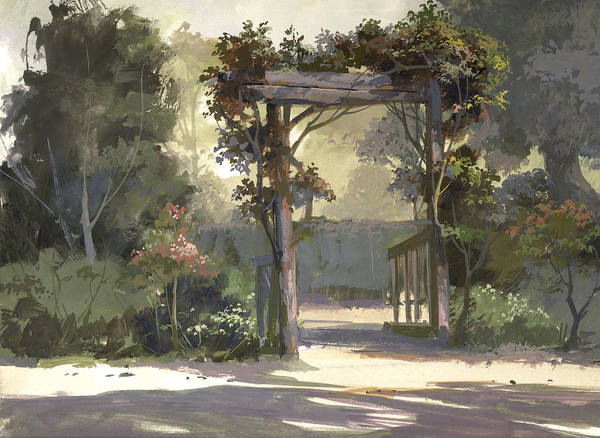 Landscape Art Print featuring the painting Descanso Gardens by Michael Humphries
