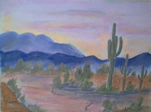 Desert Art Print featuring the painting Desert Aglow by Judi Pence