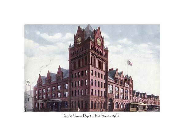 Detroit Art Print featuring the digital art Detroit - Union Depot - Fort Street - 1907 by John Madison