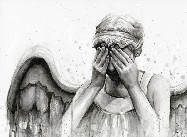 Who Art Print featuring the painting Doctor Who Weeping Angel Don't Blink by Olga Shvartsur