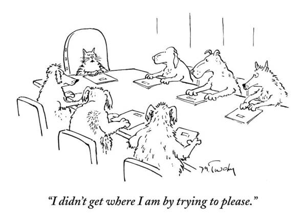 Caption Contest Tk Art Print featuring the drawing Dogs At A Meeting by Mike Twohy