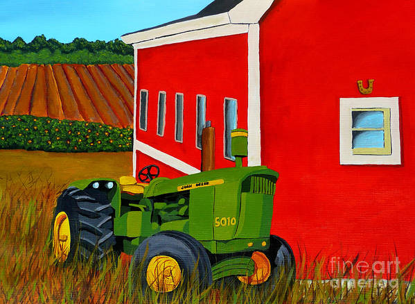 Farm Art Print featuring the painting Down On The Farm by Anthony Dunphy