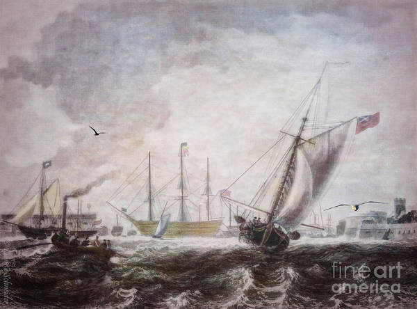 Seascapes Art Print featuring the digital art Down To The Sea In Ships by Lianne Schneider