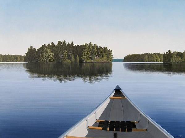 Canoe Art Print featuring the painting Early Evening Paddle by Kenneth M Kirsch
