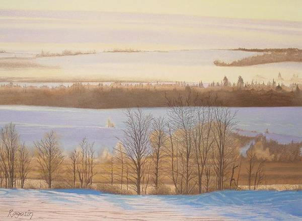 Landscape Art Print featuring the pastel Early Morning Haze by Harvey Rogosin