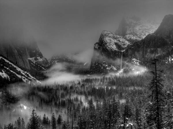 Black And White Print featuring the photograph Enchanted Valley In Black And White by Bill Gallagher