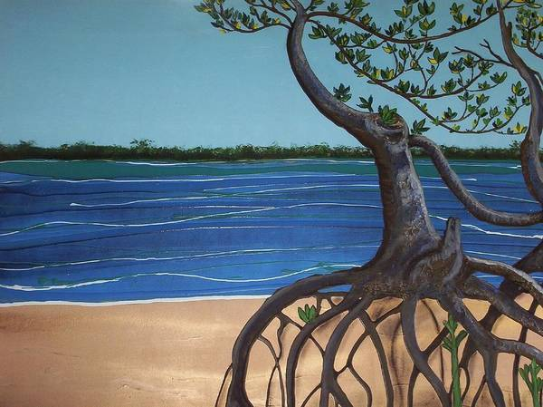 Sea Art Print featuring the painting Evans Landing Mangroves by Joan Stratton