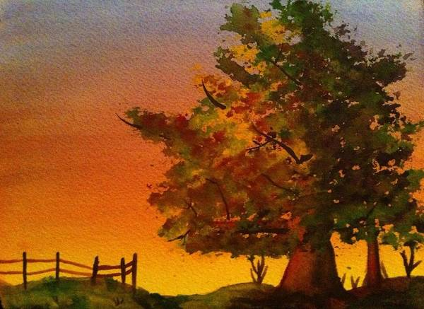 Fall Art Print featuring the painting Fall Sunset by Genevieve Hock