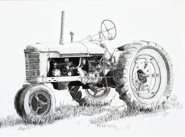 Tractor Art Print featuring the drawing Farmall by Scott Alcorn