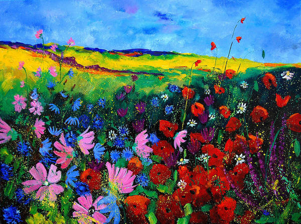 Poppies Art Print featuring the painting Field Flowers by Pol Ledent