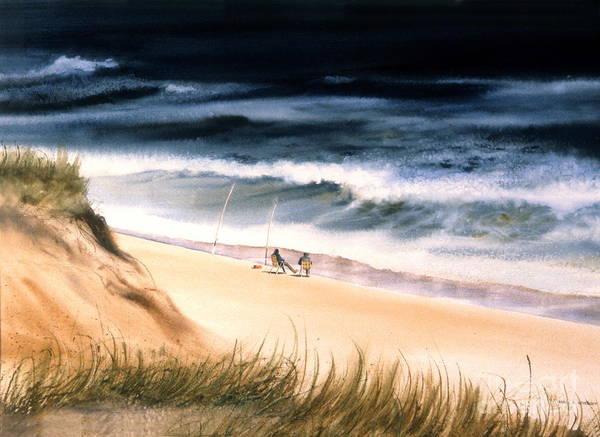 Ocean Art Print featuring the painting Fishermen's Wait by Karol Wyckoff