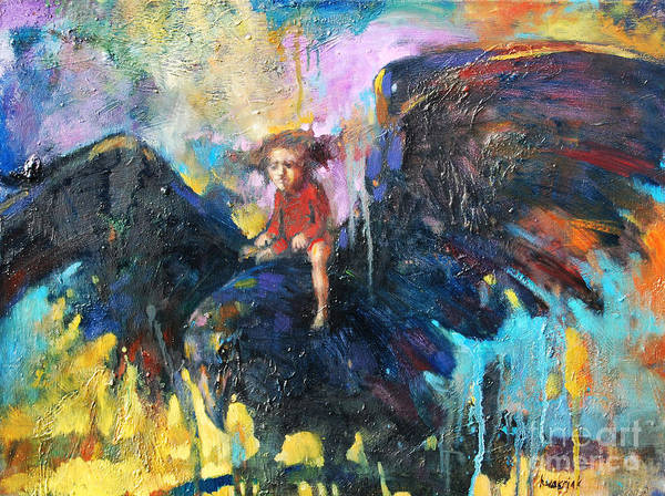 Flying In My Dreams Art Print featuring the painting Flying In My Dreams by Michal Kwarciak
