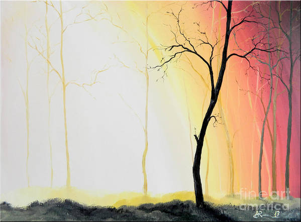 Art Art Print featuring the painting Forest Sunset by Denisa Laura Doltu
