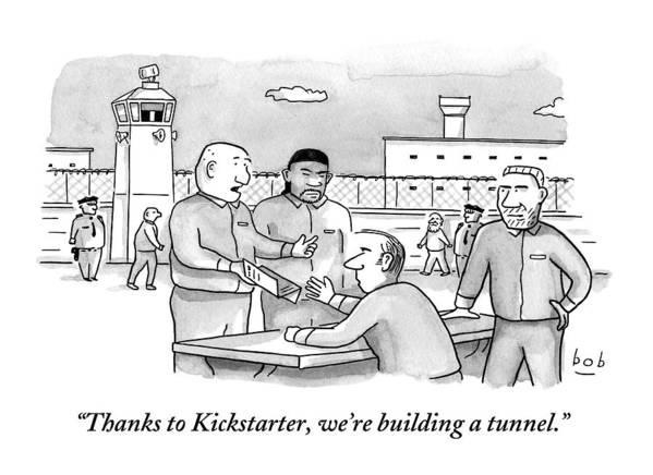 Kickstarter Art Print featuring the drawing Four Men Converse Outdoors In A Prisoner by Bob Eckstein