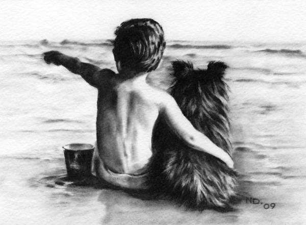 Charcoal Drawing Print featuring the drawing Friends Forever by Natasha Denger