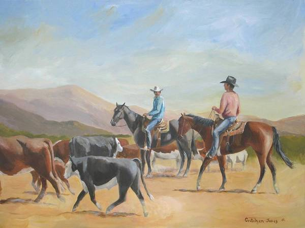 Horsemen Art Print featuring the painting Friends Working Cattle by Gretchen Jones
