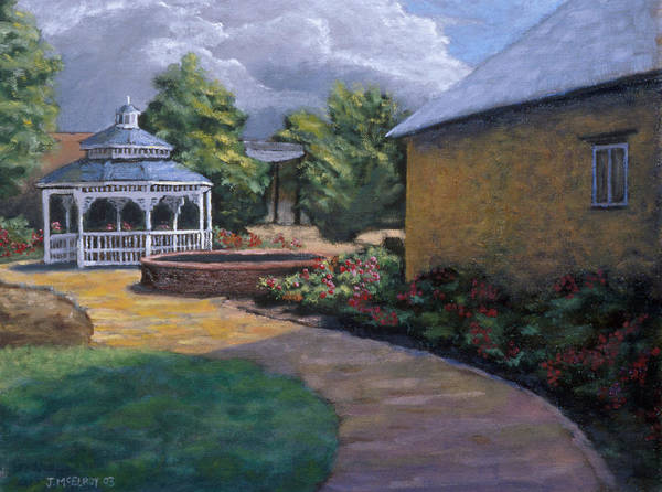 Potter Art Print featuring the painting Gazebo In Potter Nebraska by Jerry McElroy