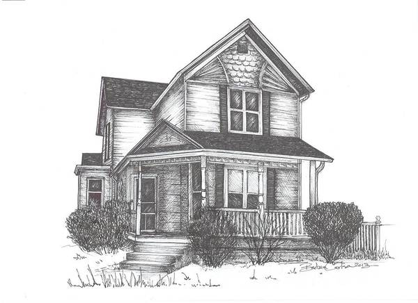 Old Art Print featuring the drawing Gh Home by Barbara Carlson