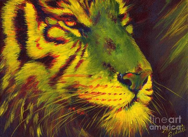 Tiger Art Print featuring the painting Glowing Tiger by Summer Celeste