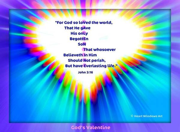 Heart Art Print featuring the digital art God's Valentine by Kathleen Luther