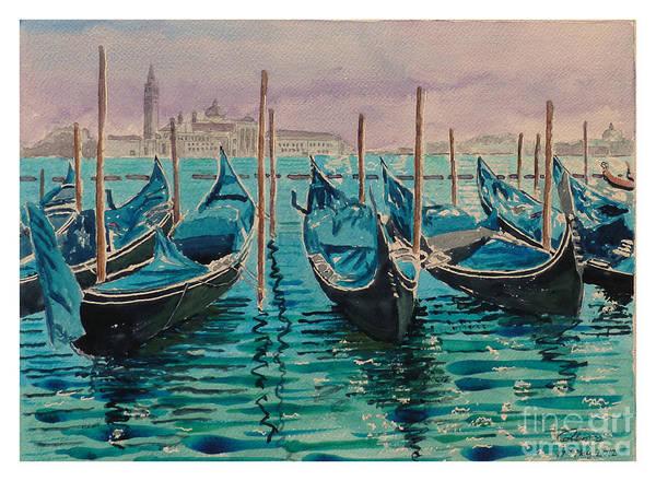 Gondolas Art Print featuring the painting Gondolas At The Pier Venice by Godwin Cassar