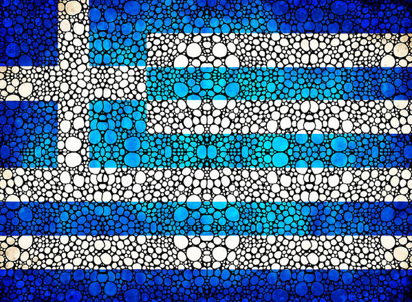 Greek Flag Art Print featuring the painting Greek Flag - Greece Stone Rock'd Art By Sharon Cummings by Sharon Cummings