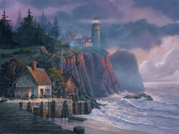 Michael Humphries Art Print featuring the painting Harbor Light Hideaway by Michael Humphries