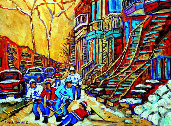 Montreal Art Print featuring the painting Hockey Art Montreal Winter Scene Winding Staircases Kids Playing Street Hockey Painting by Carole Spandau