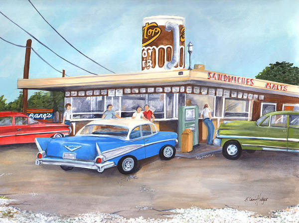 Drive In Art Print featuring the painting Hometown Memories by Elaine Hodges