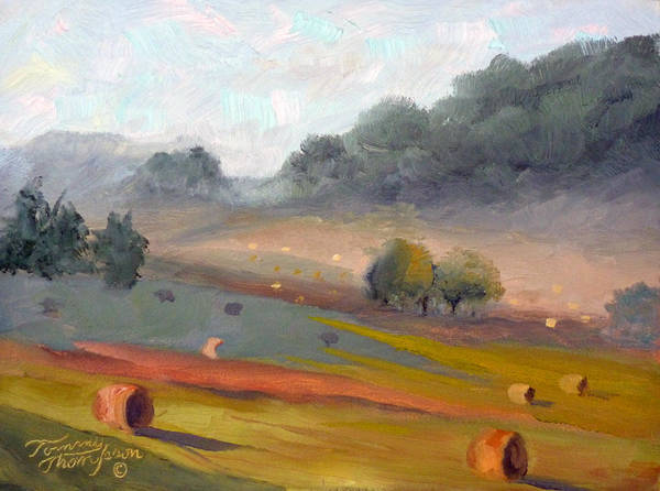 Haybales Art Print featuring the painting Ingram Haybales by Tommy Thompson