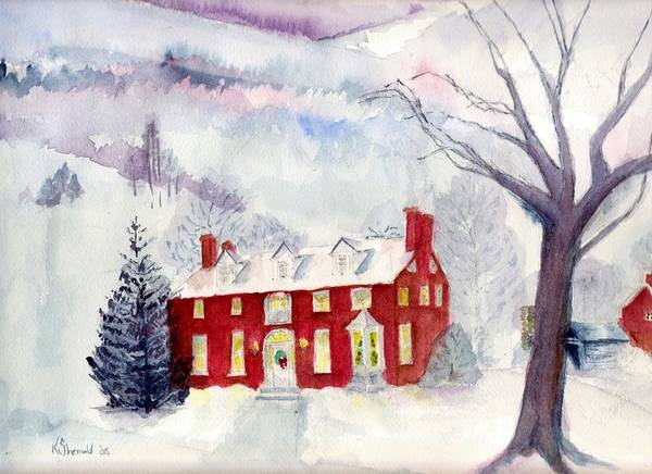 Winter Landscape Art Print featuring the painting Inn At Spruce Creek by Katherine Shemeld