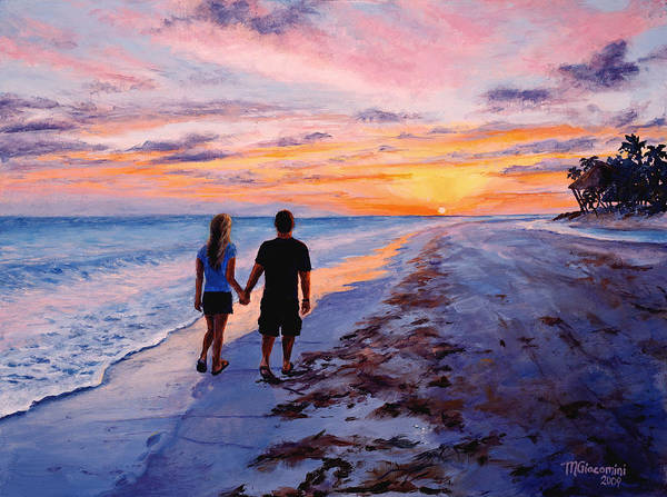 Beach Art Print featuring the painting Into The Sunset by Mary Giacomini