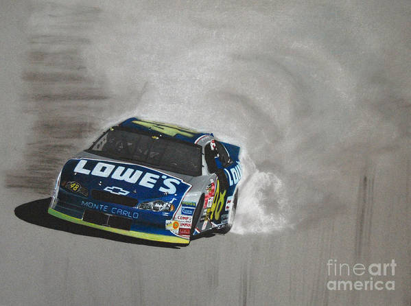Car Art Print featuring the drawing Jimmie Johnson-victory Burnout by Paul Kuras