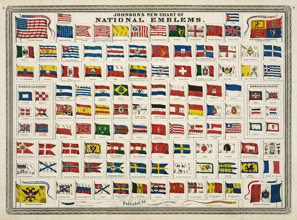 Countries Print featuring the digital art Johnsons New Chart Of National Emblems by Georgia Fowler