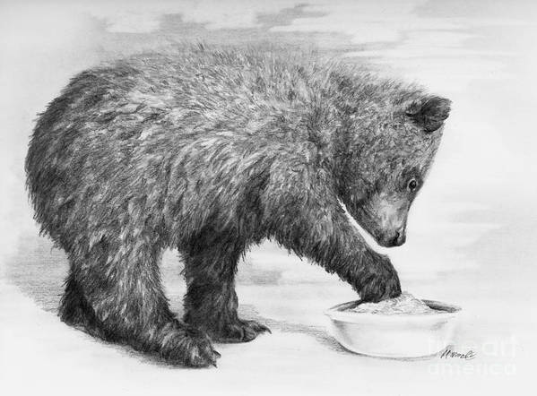 Bear Print featuring the drawing Just Right by Meagan Visser