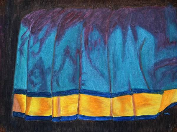 Kanchee Art Print featuring the painting Kanchi Saree by Usha Shantharam