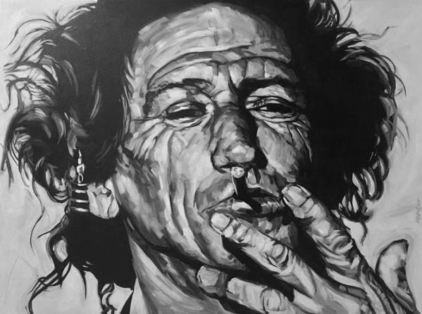 Keith Richards Guitarist Musician Rolling Stones Mick Jagger Black And White Canvas Portrait 60's Art Print featuring the drawing Keith Richards by Steve Hunter