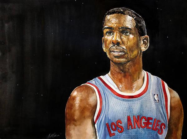 Chris Paul Print featuring the painting La Clippers' Chris Paul by Michael Pattison