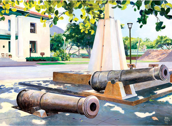 Lahaina Maui Cannons Art Print featuring the painting Lahaina 1812 Cannons by Don Jusko