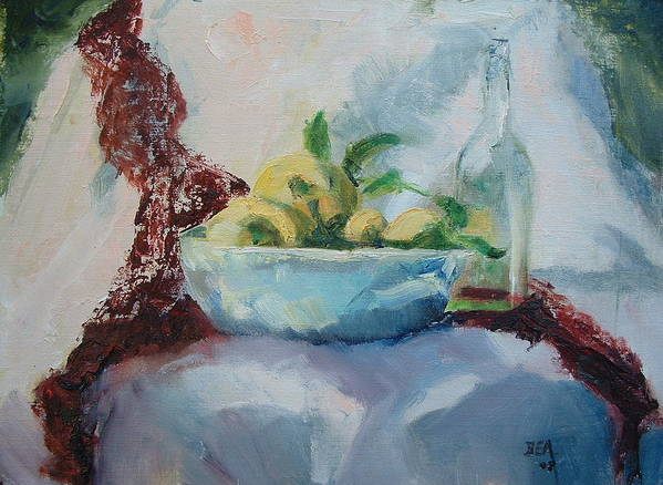 Kitchen Dining Room Still-life Fruitbowl Glass Bottle Art Print featuring the painting Lemon And Lace by Bryan Alexander