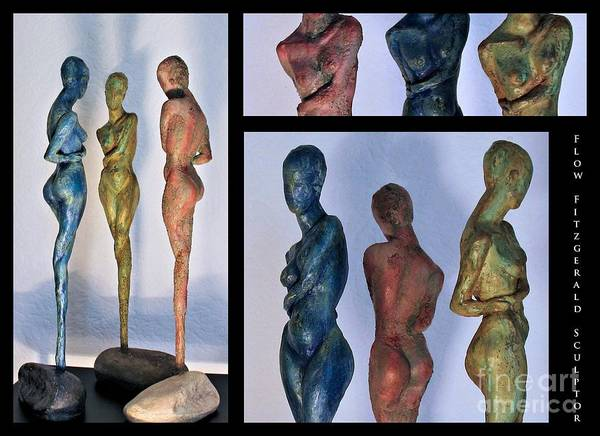 Nude Sculptures Art Print featuring the sculpture Les Filles De L'asse 1 Triptic Collage by Flow Fitzgerald