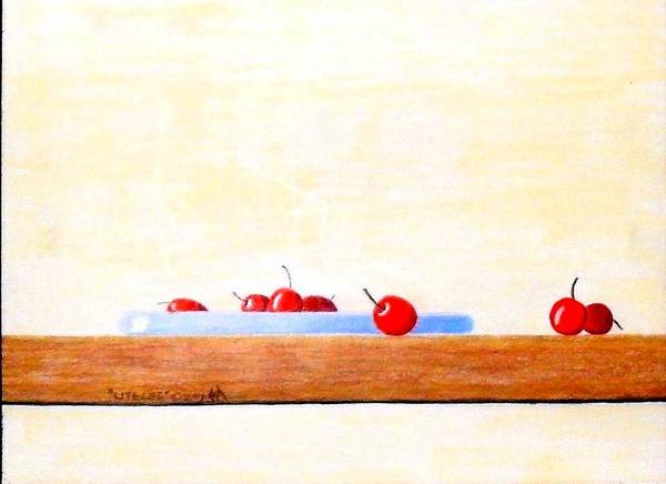 Cherries Art Print featuring the painting Lite Life by A Robert Malcom