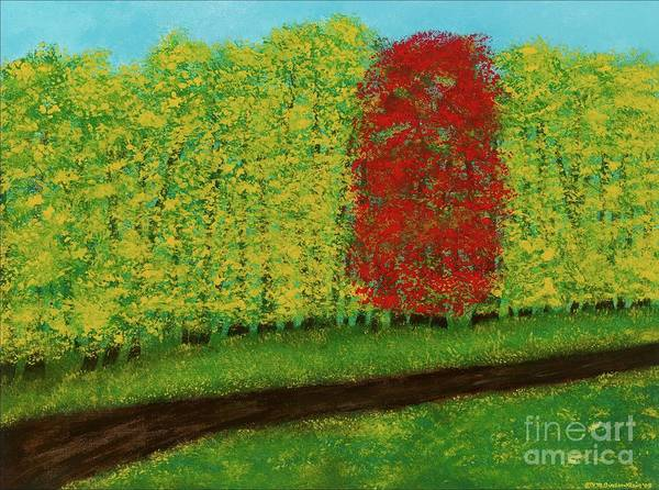 Landscape Art Print featuring the painting Lone Maple Among The Ashes by Hillary Binder-Klein