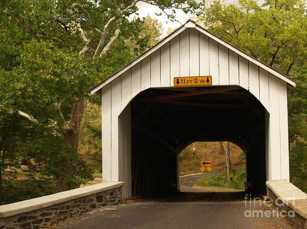 Bridge Art Print featuring the photograph Loux Bridge And Sharp Left - Bucks County by Anna Lisa Yoder